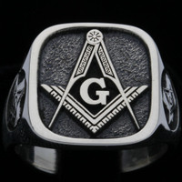 Custom  Silver Masonic Ring  Square Face  ---  Your choice of Symbols
