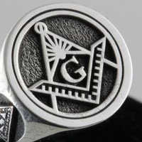 Custom  Silver  Masonic Ring  Round Face ---  Your choice of Symbols
