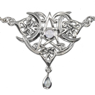 Sterling Silver Heart Pentacle Necklace with Rainbow Moonstone