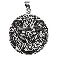 Sterling Silver Moon Pentacle Pendant