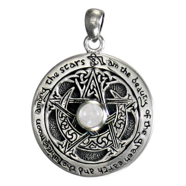 Sterling Silver Moon Pentacle Pendant with White Moonstone