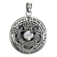 Sterling Silver Moon Pentacle Pendant Rainbow Moonstone