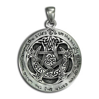 Sterling Silver Large Moon Pentacle Pendant