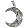 Sterling Silver Horned Moon Crescent Pendant with Rainbow Moonstone