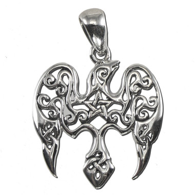 Sterling Silver Small Raven Pentacle Pendant