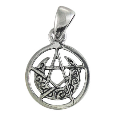 Sterling Silver Tiny Crescent Moon Pentacle Circle Pendant
