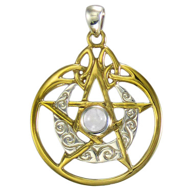 Sterling Silver Vermeil Crescent Moon Pentacle Pendant with Circle and White Moonstone