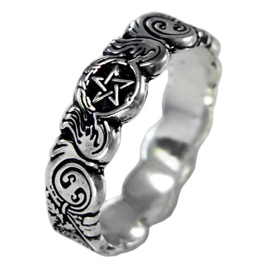Sterling Silver Celtic Knot Pentacle Banshee Guardian Ring
