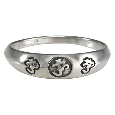 Sterling Silver Aum Band Ring