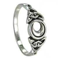 Sterling Silver Celtic Triquetra Knot Crescent Moon Ring