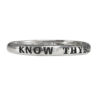 Sterling Silver Know Thyself Spiritual Inspirational Ring
