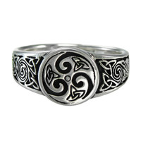 Celtic Knot Spiral Ring Triquetra Ring