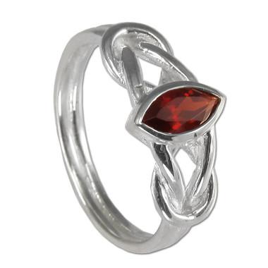 Sterling Silver Woven Celtic Knot Garnet Ring