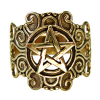 Large Bronze Ornate Pentacle Ring