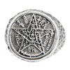 Large Sterling Silver Tetragrammaton Pentagram Ring
