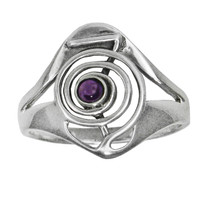 Sterling Silver Cho Ku Rei Reiki Ring with Amethyst