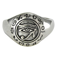 Sterling Silver Eye of Ra Udjat Egyptian Horus Ring