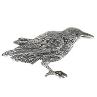 Sterling Silver Raven Crow Brooch Pin Corvid Bird Totem Jewelry