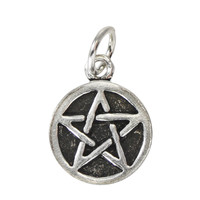 Tiny Pentacle Pentagram Sterling Silver Wiccan Pagan Charm Jewelry