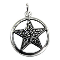 Sterling Silver Celtic Knot Pentacle Pentagram Wiccan Pagan Charm Jewelry