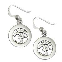 Sterling Silver Cut Om Aum Dangle Earrings Hindu Buddhist Jewelry