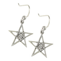 Sterling Silver Spiral Pentagram Dangle Earrings Wiccan Pagan Pentacle Jewelry