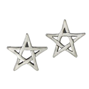 Sterling Silver Pentagram Star Post Earrings Wiccan Pagan Pentacle Jewelry