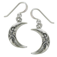 Sterling Silver Celtic Knot Crescent Moon Earrings
