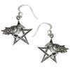 Sterling Silver Crow Raven Pentagram Earrings Wiccan Pagan Jewelry