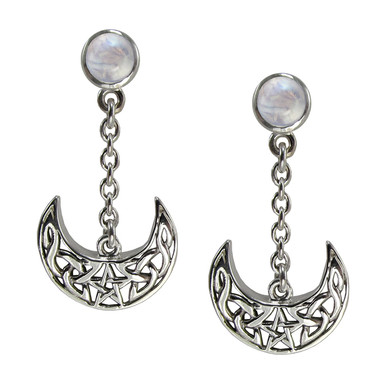 Sterling Silver Celtic Knot Crescent Moon Pentacle Earrings Rainbow Moonstone Jewelry