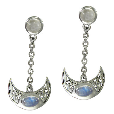 Sterling Silver Celtic Knot Crescent Moon Goddess Earrings Rainbow Moonstones Jewelry