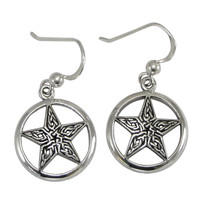 Sterling Silver Celtic Knot Pentacle Pentagram Star Earrings Wiccan Pagan Jewelry