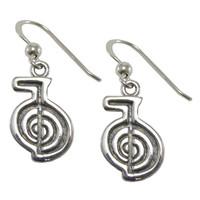 Sterling Silver Reiki Cho Ku Rei Power Symbol Earrings Jewelry