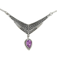 Sterling Silver Amethyst Drop Celtic Knot Collar Necklace