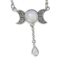 Triple Moon Goddess Moonstone Drop Sterling Silver Necklace
