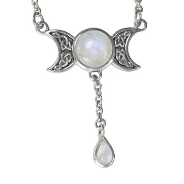 Triple moon goddess moonstone drop sterling silver wiccan necklace triple moon goddess moonstone drop sterling silver necklace aloadofball Image collections