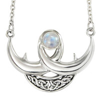 Sterling Silver Celtic Knot Crescent Moon Necklace with Rainbow Moonstone