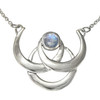 Triple Crescent Moon Goddess Sterling Silver Moonstone Collar Necklace