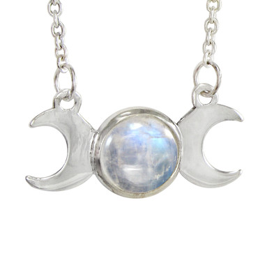 Sterling Silver Moon Phase Triple Goddess Rainbow Moonstone Necklace