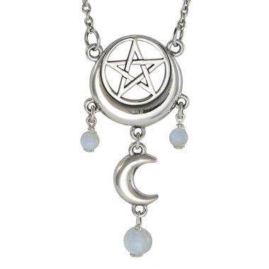 Sterling silver crescent moon pentacle pentagram necklace with sterling silver crescent moon pentacle necklace with rainbow moonstone mozeypictures Choice Image