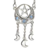 Sterling Silver Crescent Moon Pentacle Necklace Rainbow Moonstone