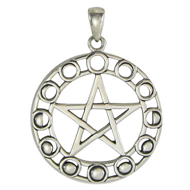 Sterling silver moon phase pentacle pendant lunar goddess jewelry aloadofball Images