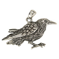Sterling Silver Raven Pendant Bird Totem Jewelry