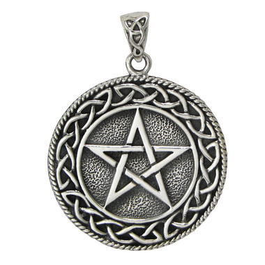 Solid Sterling Silver Celtic Knot Pentacle Pendant for men women Jewelry
