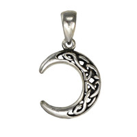 Sterling Silver Crescent Celtic Knot Moon Pendant Moon Phase Jewelry