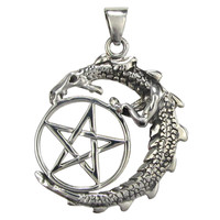 Sterling Silver Dragon Pentacle Wiccan Pagan Jewelry for men or women