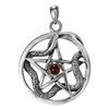 Sterling Silver Ouroboros Serpent Snake Pentacle with Garnet Gemstone Jewelry