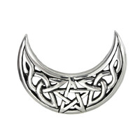 Sterling Silver Celtic Knot Crescent Moon Pentacle Pentagram Pendant Jewelry