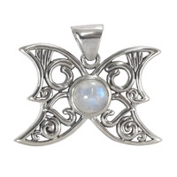 Sterling Silver Butterfly Moon Phases Rainbow Moonstone Pendant Jewelry
