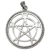 Large Sterling Silver Moon Pentacle Pendant - Wiccan Pagan Jewelry